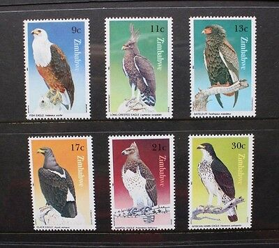ZIMBABWE 1984 Birds of Prey Eagles. Set of 6. Mint Never Hinged. SG647/652.
