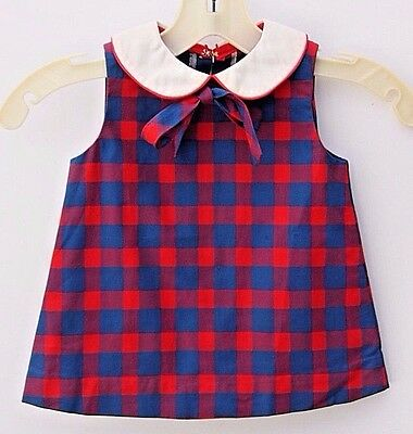 Vintage Retro Toddler Girls Mod Check Plaid Collared Dress Handmade Sz 18-24 Mos