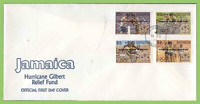 Jamaica 1988 Hurricane Gilbert Relief Fund overprint (black) set First Day Cover