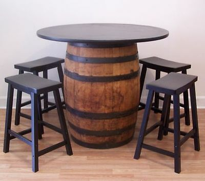 "Real Whiskey Barrel Table-42"" Table Top (4) 24"" Wood Bar Stools-FREE SHIPPING"