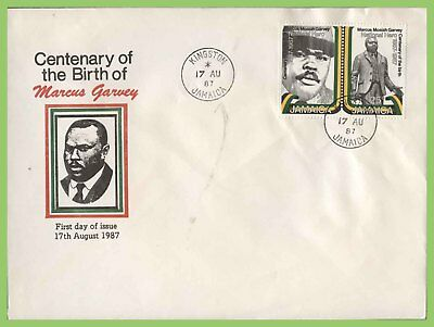 Jamaica 1987 Birth Centenary of Marcus Garvey set First Day Cover