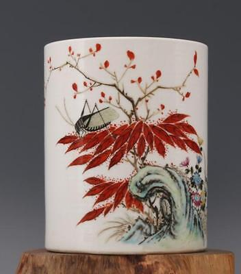 chinese ancient youligong porcelain sculpture Insects and flowers Brush pot
