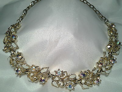 Vintage Estate Gold White Floral Leaf Enamled AB Rhinestone Collar Necklace