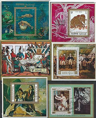 Manama / Ajman - Souvenir Sheets Lot Fish Art Elephant Napoleon Art Renoir Sport
