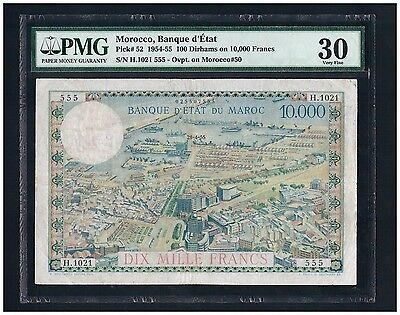 Morocco P52 100 Dirhams On 10000 Francs 1954-55 Pmg Vf 30