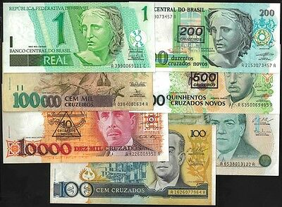 Brazil LOT BANKNOTES x 7 PCS Mixed OFFER !