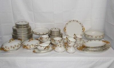 Antique B&H Limoges France Pink Tea Yellow Rose Gold 74 Pc Porcelain China Set
