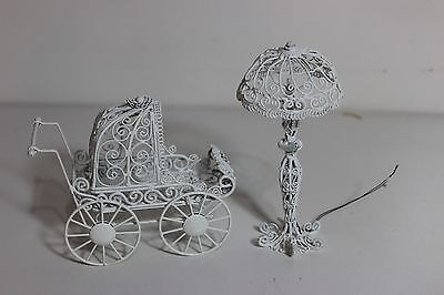 Doll House Metal Living Room Floor Light Up Lamp and Metal White baby Stroller
