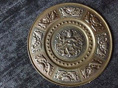 Vintage Antique Brass Copper Silver Indian Wall Plate Shiva God