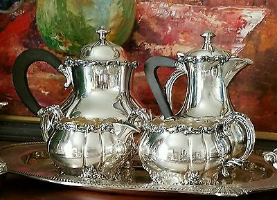 Meriden International Silver Plated Bakelite Handled Melon Shaped Tea Set #037