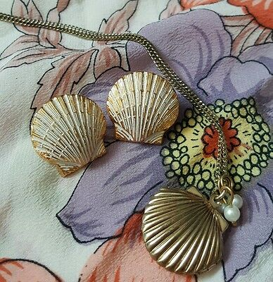 Vintage Golden Mermaid Seashell Locket Pendant Necklace & Seashell Earrings Set