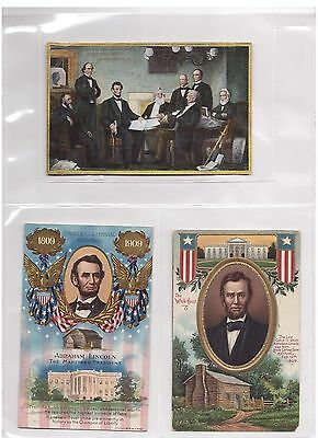 Lot Of 3 Old Abraham Lincoln Postcards Cabinet Whitehouse 1809-1909 Centennial