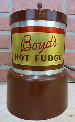 Old BOYDS HOT FUDGE Warmer Soda Fountain Ice Cream Shop Advertising Container