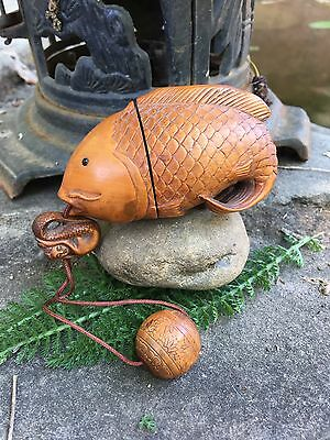 Japanese Boxwood INRO Fish with Mermaid Netsuke / Purse /Geisha Purse