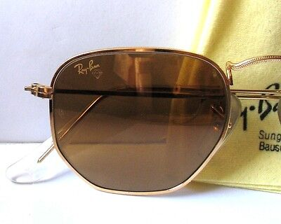Ray-Ban Bausch & Lomb Diamond Hard Sunglasses Occhiali Gold Mirror lenses W1910