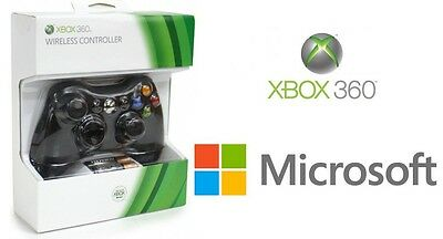 %100 Genuine Official Microsoft Xbox 360 Wireless Controller (BLACK) - NEW!