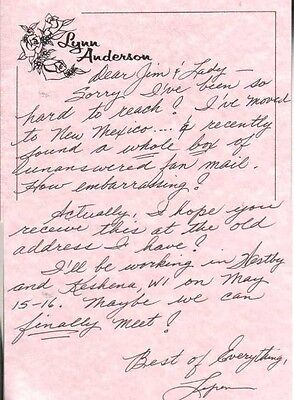 Lynn Anderson Autographed Note Legendary Country Singer D.15