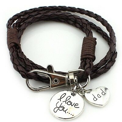 Dad bracelet Real Leather BROWN  Bracelet 'I Love You Dad',  Fathers day (M60)