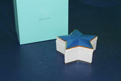Designed by Tiffany & Co Blue Star Porcelain Trinket Box With Gold Trim with Box
