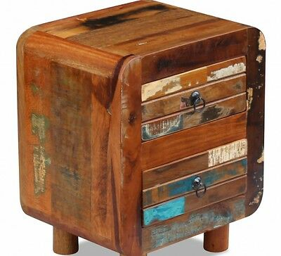 Two Drawer Bedside Table Cabinet Solid Wood Small Chest Nightstand Vintage Retro