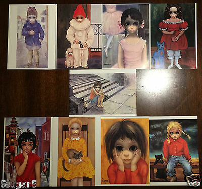 Lot WALTER KEANE Margaret BIG EYES GREETING CARDS blank UNUSED 1963 girl vintage