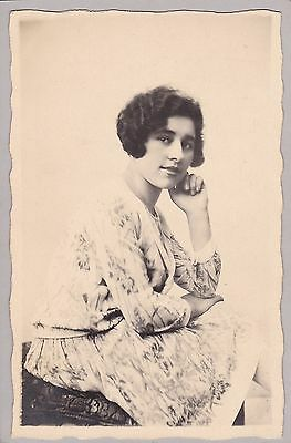 Antique RPPC: Studio Portrait Of Beautiful Lady, Glamour, Fashion,  Floral Dress