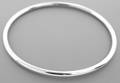 New Sterling Silver Circle Ladies Bangle Bracelet Stackable 3Mm
