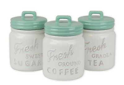 DII 3 Piece Classic Ceramic Food Storage Canisters with Airtight Lid For...