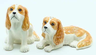 Figurine Animal Statue Salt Pepper Shaker 2 Cavalier King Charles Spaniel Dog