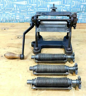 Antique VITANTONIO Pasta Noodle Maker Cast Iron with 3 Spindles Cutters