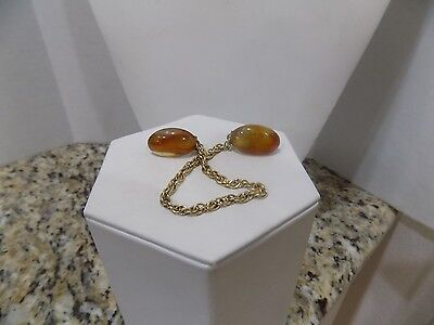 "Vintage 1950's  Sweater Guard Clip Faux Baltic Amber Gold Tone Chain 7"" Pat. No."