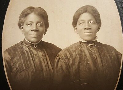 Antique African American Identical Twins Peoria Il Black Lady Cabinet Card Photo