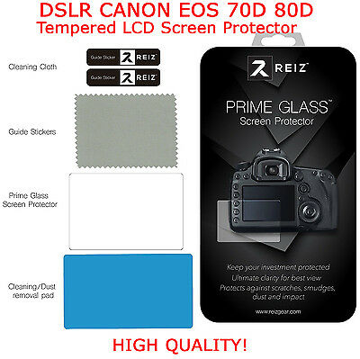 For CANON EOS 70D 80D DSLR Tempered LCD Screen Protector Optical Glass by REIZ