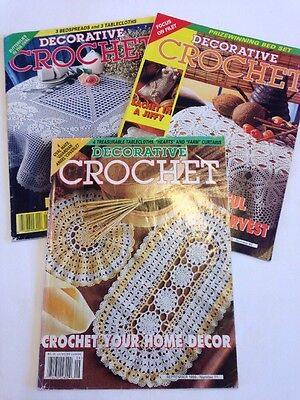 Crochet Patterns Decorative Crochet Magazine Lot x3 Doilies Tablecloths Etc.