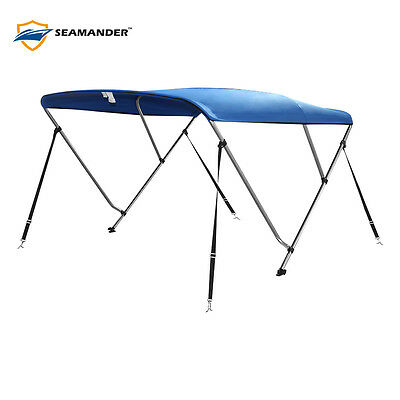 """3Bow Bimini Boat Top Cover with storage boot, Color Blue, 6'L x 46""""H x67""""-72""""W"""