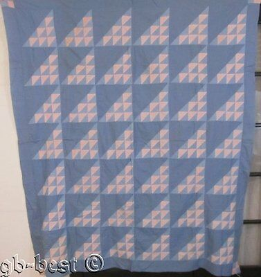 Graphic c 1930s Birds in the Air Vintage QUILT Top Pink Blue