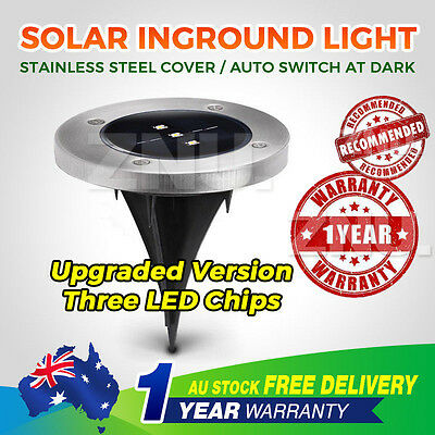 6X Warm White Solar Powered LED Buried Inground Recessed Light Garden Deck Path