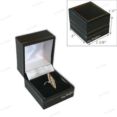 Lot Of (48) High Quality Leatherette Ring Box Black Ring Box Jewelry Gift Box
