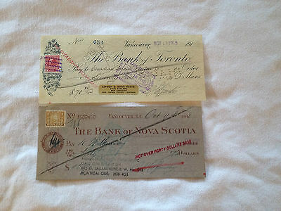 WORLD WAR I COLLECTIBLE CASHED BANK CHEQUES CHECKS Canada 1915 and 1918