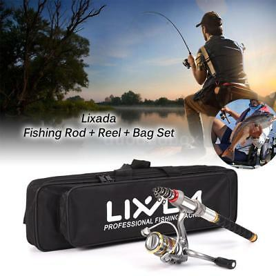 NEW Telescopic Spinning Fishing Rod Reel Combo Kit Gear Organizer Pole Set 2.4m