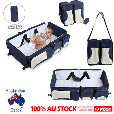 Foldable Baby Travel Bed Crib Diaper Changing Bassinet Nappy Shoulder Bag Blue