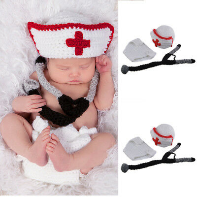 Cute Baby Boy Infant Doctor Costume Photo Photography Prop 0-9 Months Newborn