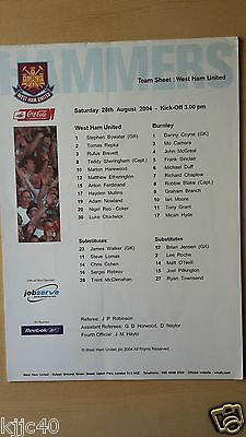 West Ham Utd v Burnley Official Team Sheet 28/08/2004