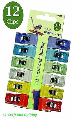 Wonder Clips WIDE (33206) - Pack of 12 - Quilting, Binding, Piping, knitting