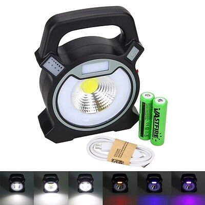 10W LED COB USB Rechargeable Portable Work Camping Outdoor Light Lamp 2x 18650