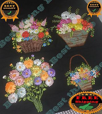 Beautiful Ribbon Embroidery Work for Wall Decor, Table Mat, Cushion Cover