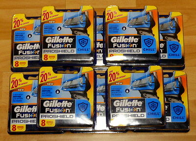 New 10 X Gillette Fusion Proshield Chill Pack of 8 Cartridges (80 Blades)RRP$520