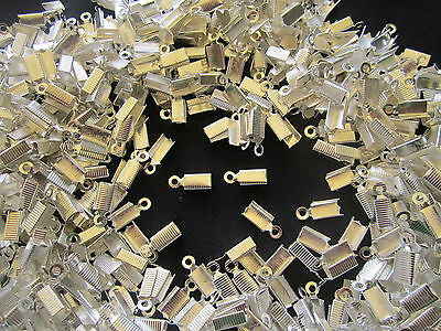 1000 x Leather cord End Crimps Silver tone Findings BULK Jewellery Making Craft