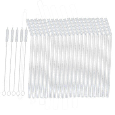 20Pcs Reusable Bent Glass Tube Drinking Straw Sucker With 5 Cleaning Brush