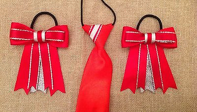 childs equestrian showing set - show tie and bows In RED & SILVER Lead Rein